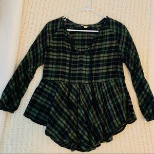 Green and Black Plaid Peplum Blouse